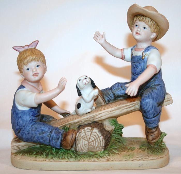 "HOMCO 1985 DENIM DAYS Figurine ""Playtime""  #8827 EUC - $25.00"