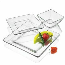Modern Dinnerware Set 12 Pcs Square Thick Clear Glass Dinner Plates Bowl... - $48.50