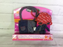 Mattel Barbie Mini Denim Bear Stuffed Plush & Take a Long Tote Bag Keych... - $27.71
