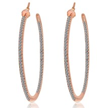 """Pave Signity 5A Cubic Zirconia 2"""" InSideOut Sterling Silver Hoop Earrings-CZ - $79.19"""