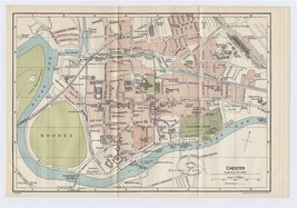 1924 ORIGINAL VINTAGE CITY MAP OF CHESTER / CHESHIRE / ENGLAND - $20.20