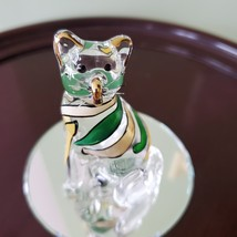 Glass Cat Figurine on mirrored base, painted with yellow green stripes, Kitty image 6