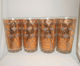 Georges Briard Mid Century Heavy Gold Tumblers Highball Cocktail Glasses... - $42.75