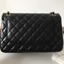 100% Authentic Chanel Black QUILTED LAMBSKIN JUMBO CLASSIC DOUTFLAP BAG Ghw image 4