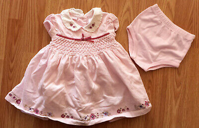 Primary image for Girl's Size 6-9 M Months 2 Pc Pink First Impressions Floral Corduroy Dress & DC