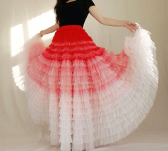 Bridal Tiered Tulle Skirt Outfit A-line Full Tulle Wedding Party Skirt,Red white image 2