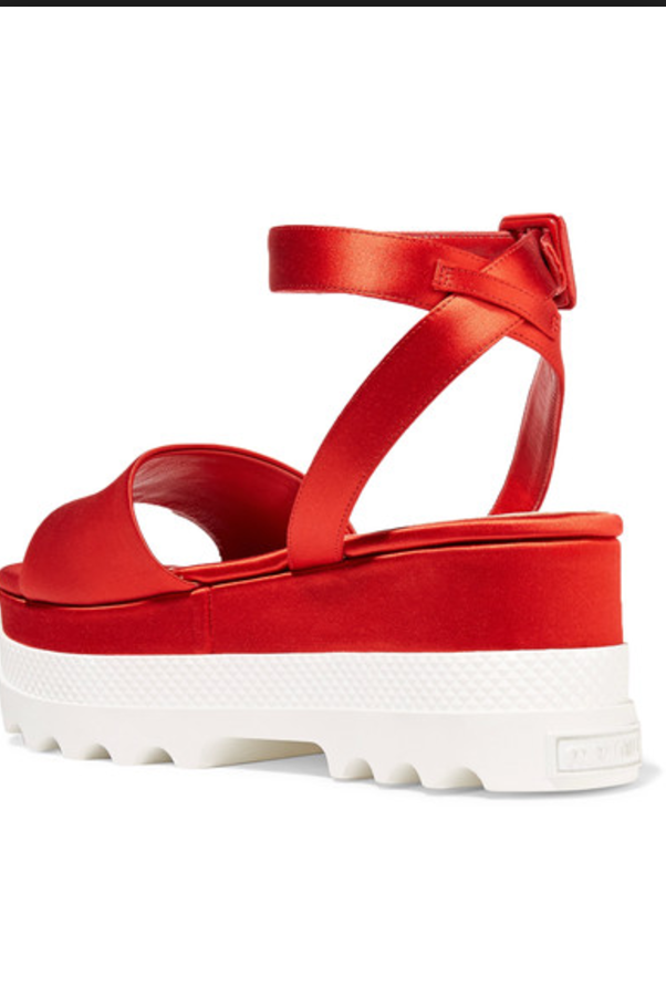 NWOB MIU MIU Red Satin Platform Sandals SZ 37.5 SS17 ITALY Dust Bag Included