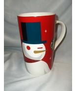 Starbucks Coffee White Snowman On Red 16 Oz Mug Cup 2012 With Menu NICE - $29.69