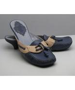 Clarks Indigo SHOES Blue Tan Leather Slides Low Heel Comfort Super Cute - $19.79