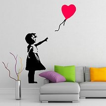 ( 71'' x 48'') Banksy Vinyl Wall Decal Girl with Heart Balloon / Street Graffiti - $88.31