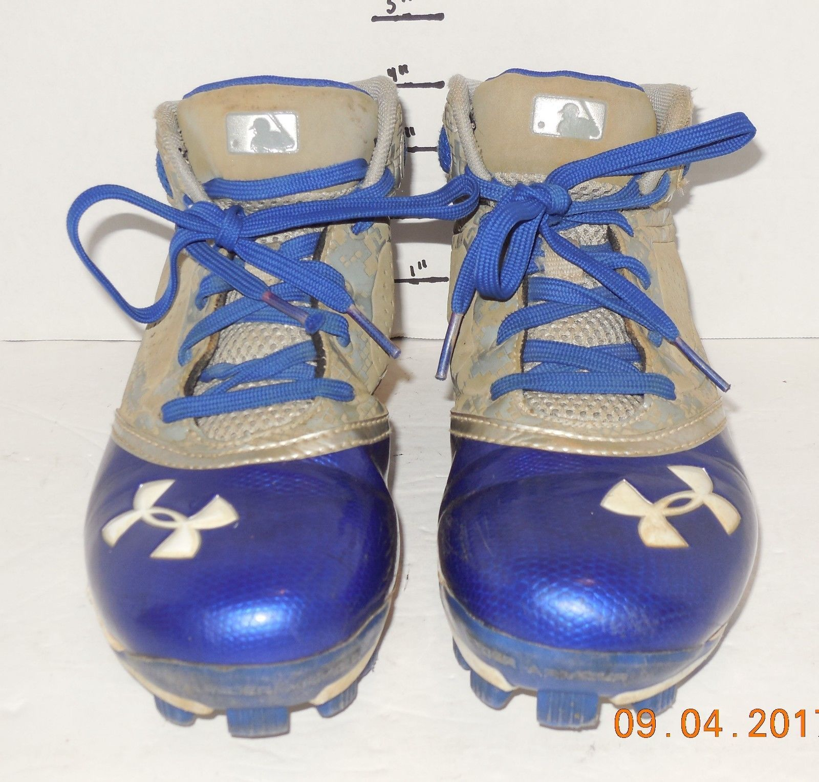 sports shoes 438de dbe55 57. 57. Previous. Under Armour Youth Boys Size 4.5 Blue and Grey Baseball  Cleats. Under Armour Youth Boys ...