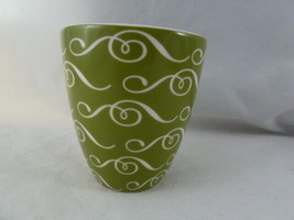 Starbucks Handleless Coffee Mug Cup 2010 New Bone China Green & White No... - $5.93