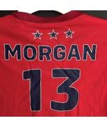 US Women's Soccer Jersey Morgan #13 Size Medium Red Short Sleeve V-Neck ... - $29.99