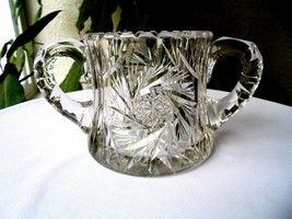 Hand Cut Crystal Table Sugar Bowl - $9.90