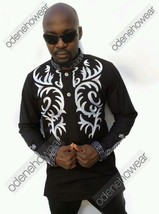 Odeneho Wear Men's Black Polished Cotton Top/White Embroidery. African Clothing. - $79.19+