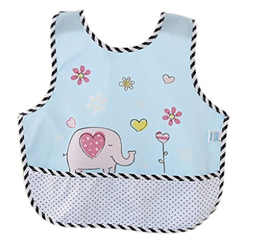Lovely Cartoon Elephant Waterproof PVC Feeding Baby Bibs Blue