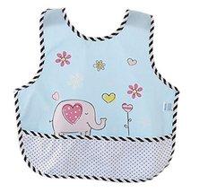 Lovely Cartoon Elephant Waterproof PVC Feeding Baby Bibs Blue