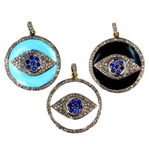 Sapphire Gemstone Sterling Silver Pave Diamond Enamel EVIL EYE Pendant 14 K Gold - £213.51 GBP