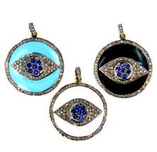 Sapphire Gemstone Sterling Silver Pave Diamond Enamel EVIL EYE Pendant 1... - $279.57