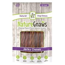 """Nature Gnaws Beef Jerky Chews 9-10"""" 20 Pack - 100% All-Natural Grass-Fed Free-Ra"""