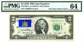 $2 DOLLARS 1976 FIRST DAY STAMP CANCEL U.S. STATE FLAGS RARE VALUE $50,... - $45,000.00