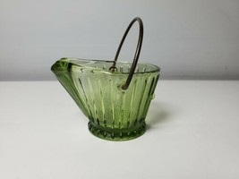 VTG Hazel Atlas Continental Can Corp Green Glass Ashtray Ash Bucket Cute Mini - $16.82