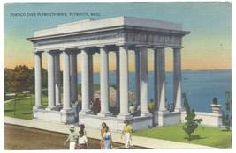 Plymouth Rock Massachusetts MA Portico Postcard Linen Colourpicture - $3.34