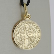 SOLID 18K YELLOW GOLD ST SAINT BENEDICT 17 MM MEDAL WITH CROSS, MADE IN ITALY image 2