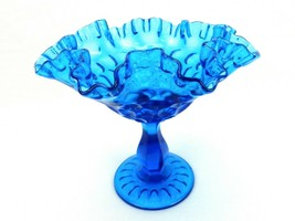 Fenton Colonial Blue Glass Comport, Thumbprint Pattern, Ruffled Rim, FNT205 - $29.35