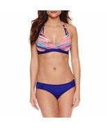 Liz Claiborne Stripe Halter Swimsuit Bikini Top Size 14 Coral & Blue NEW  - $29.69