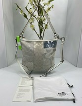 Coach Crossbody Bag Patchwork Signature White Silver Shoulder 13496 B2I - $88.19