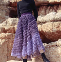 Purple Layered Tulle Midi Skirt A-line High Waisted Tulle Ruffle Skirt image 4