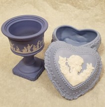 Lady Cameo set of 2 blue ceramic candy dishes avon vintage  - $9.50