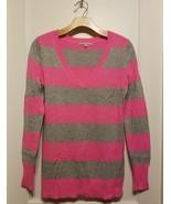 GAP Women's Stripe Sweater Acrylic Nylon Wool Blend Pink Gray Size M, Pr... - $19.39