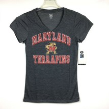 University Maryland Terrapins NCAA Womens LOGO Gray V-Neck T-Shirt / Sz ... - $21.11