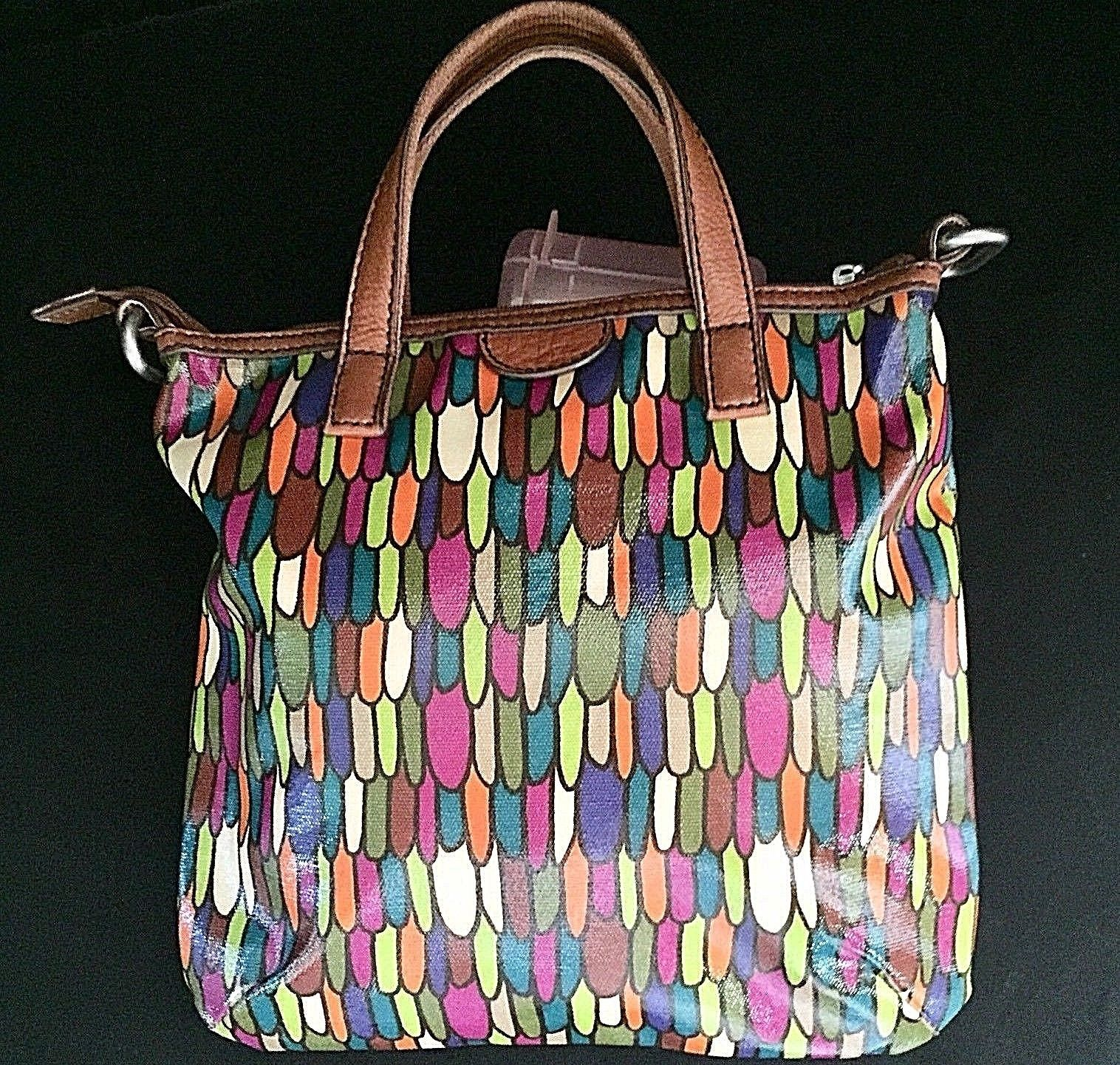 Fossil Calypso Key Per ZB5125 Multi Color Feather Print Coated Canvas Tote Bag image 2