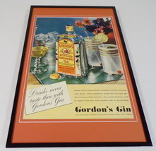 1937 Gordon's Gin Framed 11x17 ORIGINAL Vintage Advertising Poster - $65.09
