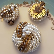 Vintage Pearl And Rhinestone Brooch And Earrings set - $57.42
