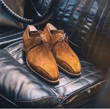 Handmade Men Suede derby designer Shoes, Men Tan color suede formal Shoes  - $164.99