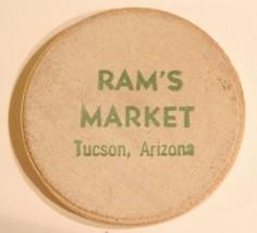 Vintage Tucson Arizona Wooden Nickel Ram's Market - $5.93