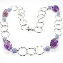 Necklace Silver 925, Fluorite Oval Faceted Purple, Chalcedony, 70 CM image 1