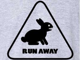 FUNNY T-SHIRT Run Away Rabbit TShirt Monty Python Easter Mens Womens Kids Tee   - $11.99