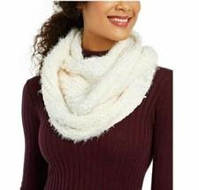 INC International Concepts Textured Knit Infinity Scarf Eyelash Yarn, White - $13.86