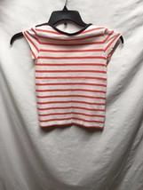 Gap Kids Sz M 8 Girls Tee Tshirt Orange White Striped Navy Trim - $5.32