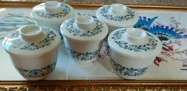 Noritake Nippon Toki Kaisha Japan Fine China Royal Blue Tea Cups lids Set/5 VTG - $45.46