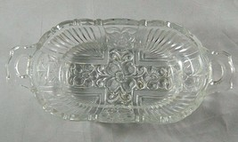 """Vintage Killarney by Indiana Glass 7"""" Oval Olive Dish Clear Pressed Flor... - $6.25"""