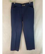 Ralph Lauren Petite Pants 8P Royal Blue Zip Front Cotton Spandex Stretch... - $45.54