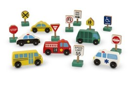 Melissa & Doug Wooden Vehicles and Traffic Signs With 6 Cars and 9 Signs - $28.62