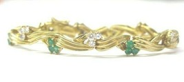 "Colombian Green Emerald & Diamond Bracelet Yellow Gold 18Kt 2.69Ct 6.25"" - $3,960.00"