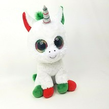 "Ty Beanie Boo Jumbo 17"" Unicorn Candy Cane Christmas Limited Edition Plush Toy - $30.12"